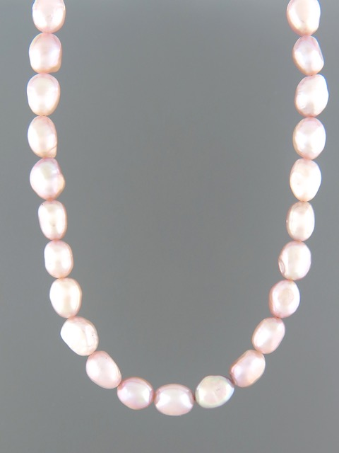 Pink Baroque Pearl Necklace - 10mm Pearls - YPBQN