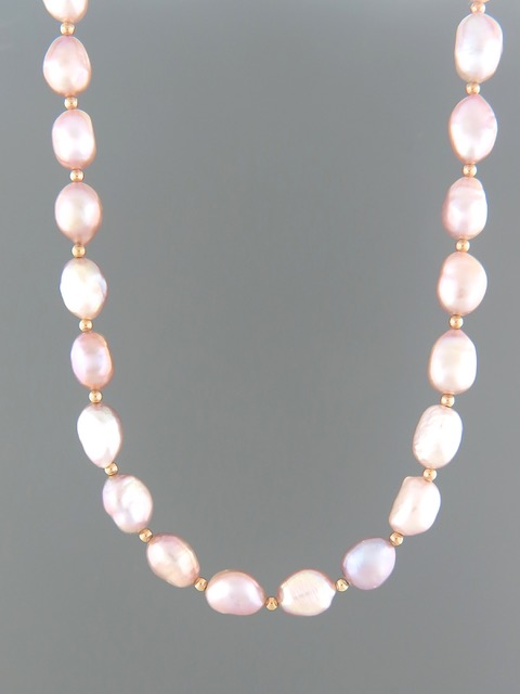 Pink Baroque Pearl Necklace with Gold beads - YPBQ2N