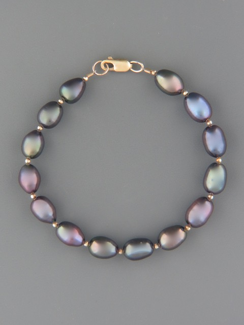Dark Rice Pearl Bracelet with Gold beads - Y925