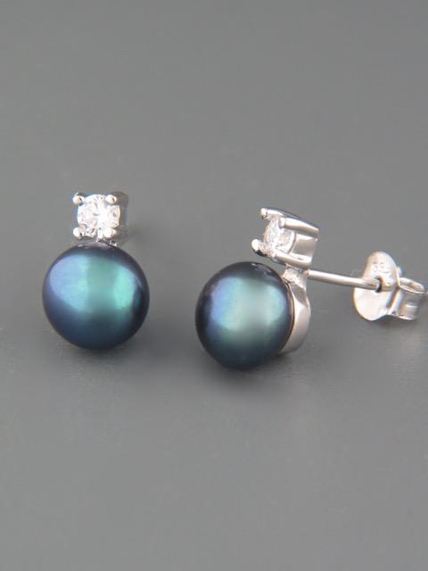 7mm dark Pearl stud Earrings - Sterling Silver - Y512