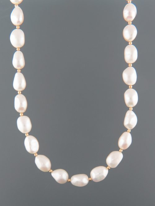 Baroque Pearl Necklace with Gold beads - 8x10mm - YWBQ2N
