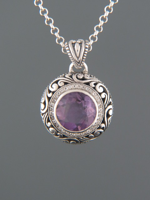 Amethyst Pendant - Sterling Silver - A305