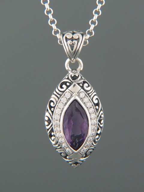 Amethyst Pendant - Sterling Silver - A309