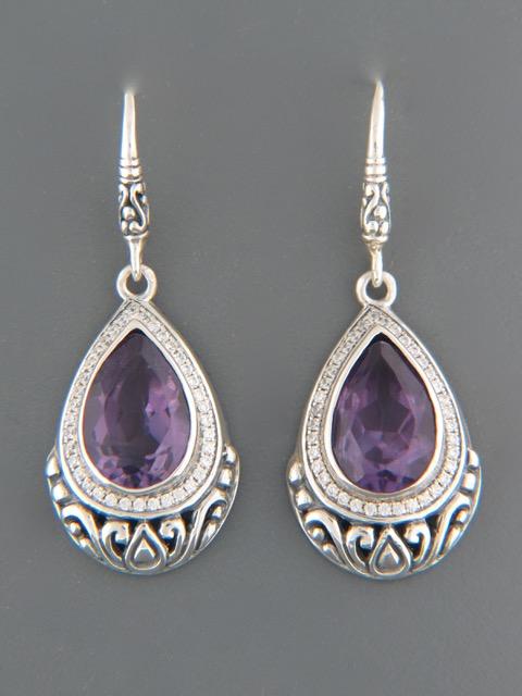 Amethyst Earrings - Sterling Silver - A516