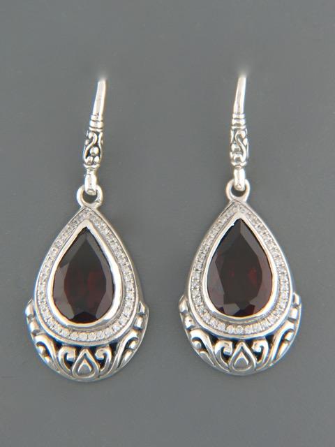 Garnet Earrings - Sterling Silver - G516
