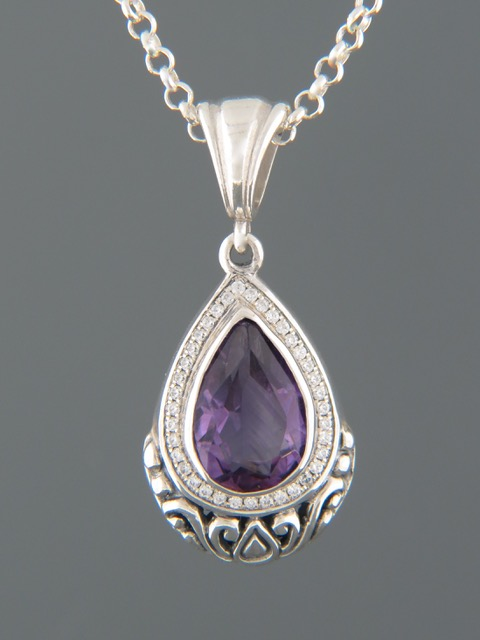 Amethyst Pendant - Sterling Silver - A322