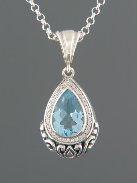 Blue Topaz Pendant - Sterling Silver - BT312