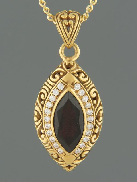 Garnet Pendant - Gold Vermeil - G301GV