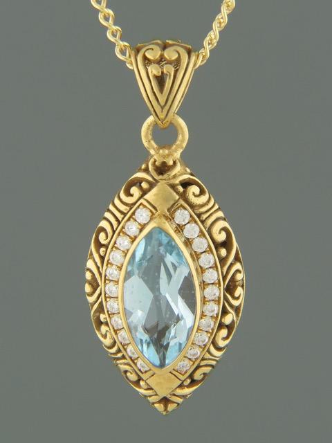 Blue Topaz Pendant - Gold Vermeil - BT302GV