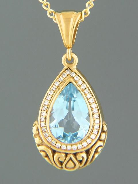 Blue Topaz Pendant - Gold Vermeil - BT312GV