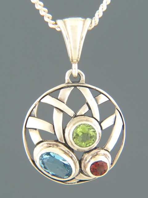 Blue Topaz, Peridot & Garnet Pendant - Sterling Silver - BT395