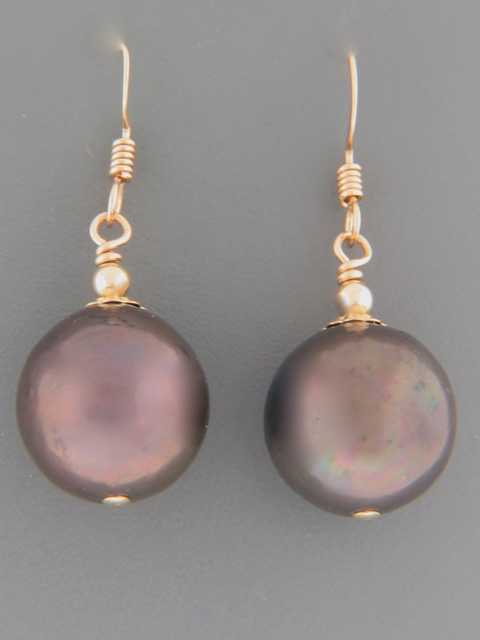 14-15mm dark Pacific Pearl Earrings - 14ct Gold Filled - Y505