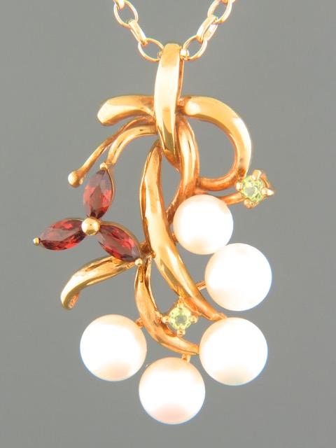 Pearl Pendant with Garnet & Peridot - Gold Vermeil - Y460GV