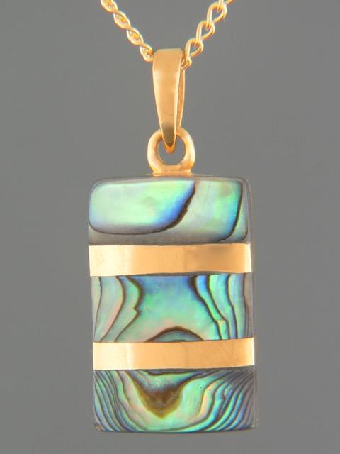 Paua Shell Pendant - Gold Vermeil - PA383GV