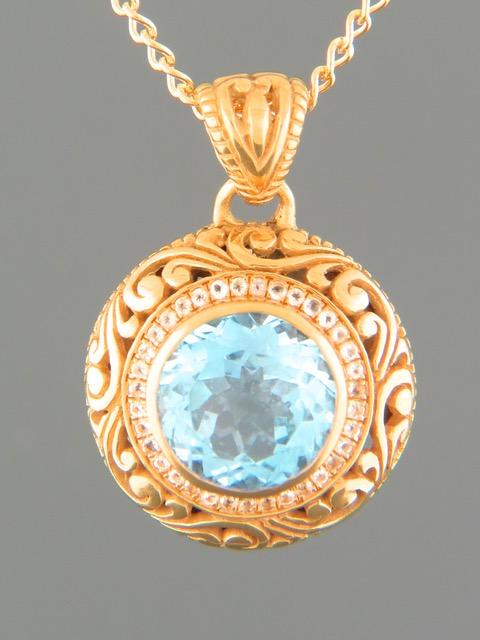 Blue Topaz Pendant - Gold Vermeil - BT315GV