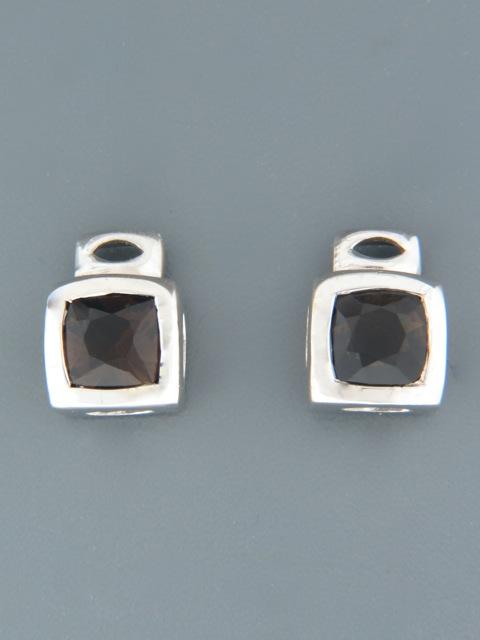Smokey Quartz Earrings - Sterling Silver stud - SQ528