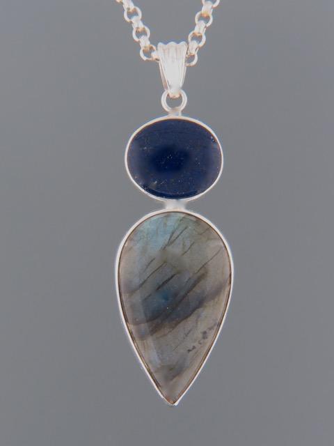 Labradorite Pendant with Lapis Lazuli - Sterling Silver - LAB306