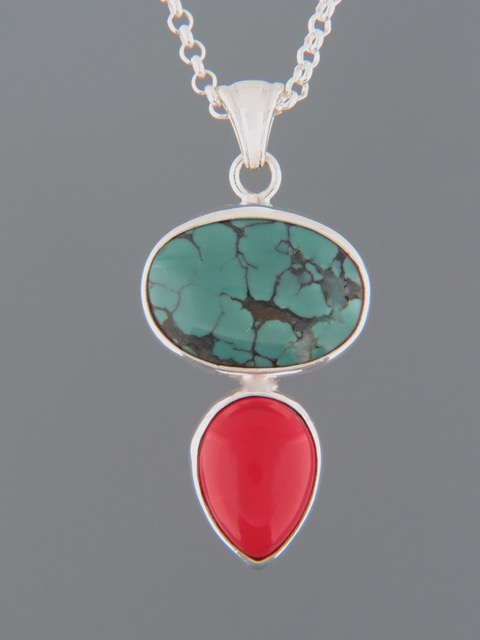 Turquoise Pendant with Red Coral - Sterling Silver - TQ310