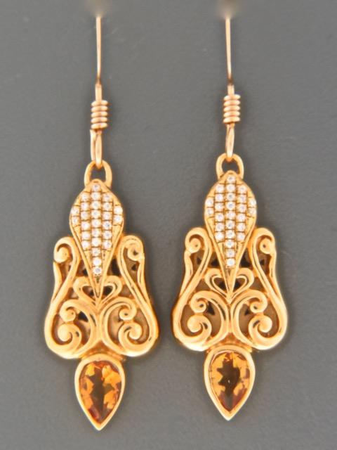 Citrine Earrings - Gold Vermeil - C548GV