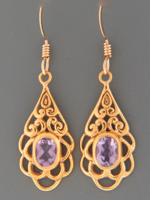 Amethyst Earrings - Gold Vermeil - A694GV