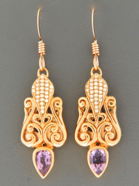 Amethyst Earrings - Gold Vermeil - A693GV