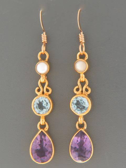 Amethyst, Blue Topaz &  Pearl Earrings - Gold Vermeil - A696GV