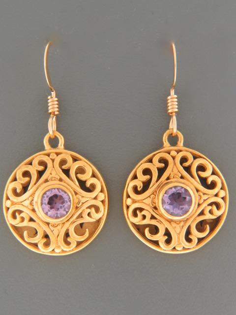 Amethyst Earrings - Gold Vermeil - A677GV