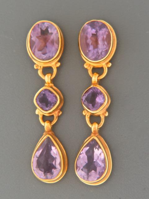 Amethyst Earrings - Gold Vermeil studs - A679GV