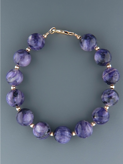 Charoite Bracelet - 12mm round stones with Gold beads - CH902
