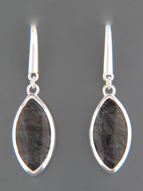 Tourmalinated Quartz Earrings - Sterling Silver - TQZ501