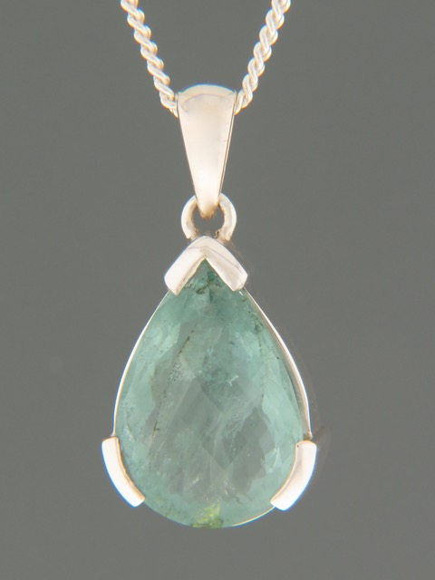 Aquamarine Pendant - Sterling Silver - AQ326