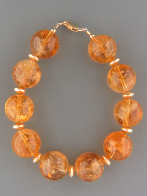 Citrine Bracelet - 16mm round stones with Gold beads - C900