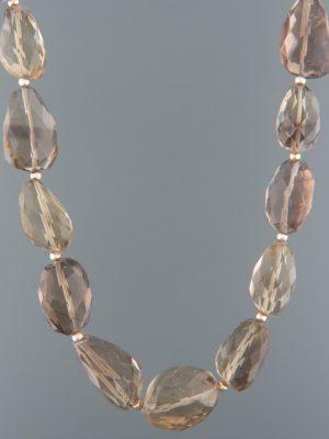 Smokey Quartz Necklace - irregular faceted stones - 53cm - SQ013