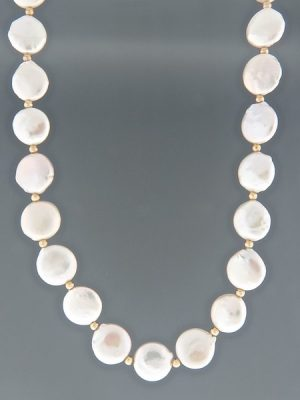 13mm Coin Pearl Necklace with 3mm round beads - YWC133N
