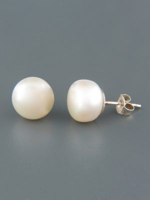 10mm White Pacific Pearl Stud Earrings - Sterling Silver - YW10ZS