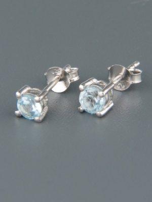 Blue Topaz Earrings - Sterling Silver stud - 4mm stones - BT504B