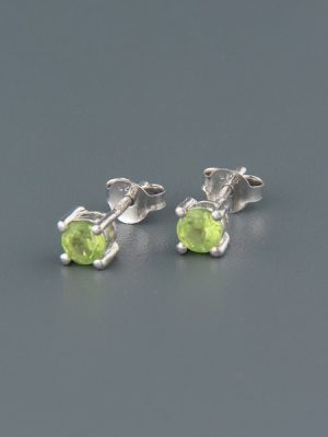 Peridot Earrings - Sterling Silver stud - 4mm stones - P504B