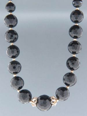 Onyx Necklace - 8,10,14 & 16mm round faceted stones - 52cm - OX086