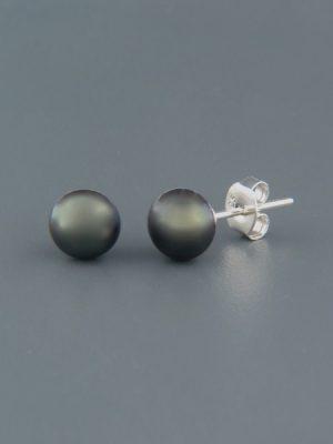 6mm Dark Pacific Pearl Stud Earrings - Sterling Silver - YD6ZS