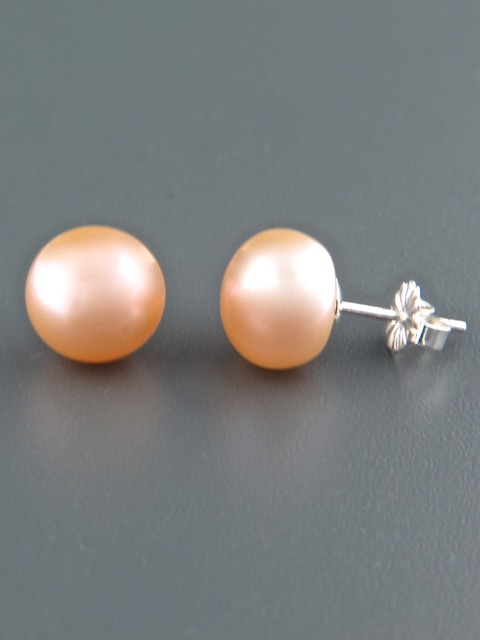 10mm Pink Pacific Pearl Stud Earrings - Sterling Silver - YP10ZS