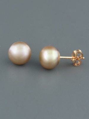 8mm Champagne Pacific Pearl Stud Earrings - Gold - YG8ZG