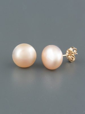 8mm Pink Pacific Pearl Stud Earrings - Gold - YP8ZG