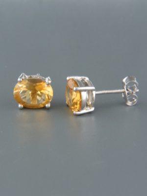 Citrine Earrings - Sterling Silver stud - 5x7mm stones - C540