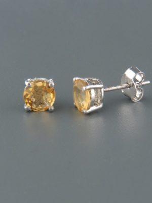 Citrine Earrings - Sterling Silver stud - 6mm stones - C541