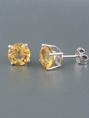 Citrine Earrings - Sterling Silver stud - 8mm stones - C506