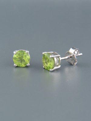 Peridot Earrings - Sterling Silver stud - 6mm stones - P559