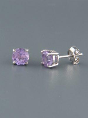 Amethyst Earrings - 6mm stones - A687