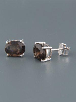 Smokey Quartz Earrings - Sterling Silver stud - 7x9mm stones - SQ549