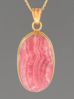 Rhodochrosite Pendant - Gold Vermeil - RH302GV