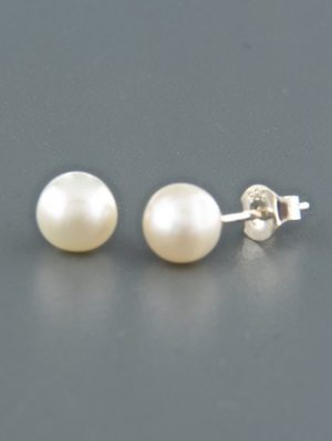 8mm White Pacific Pearl stud Earrings - Sterling Silver - YW8ZS
